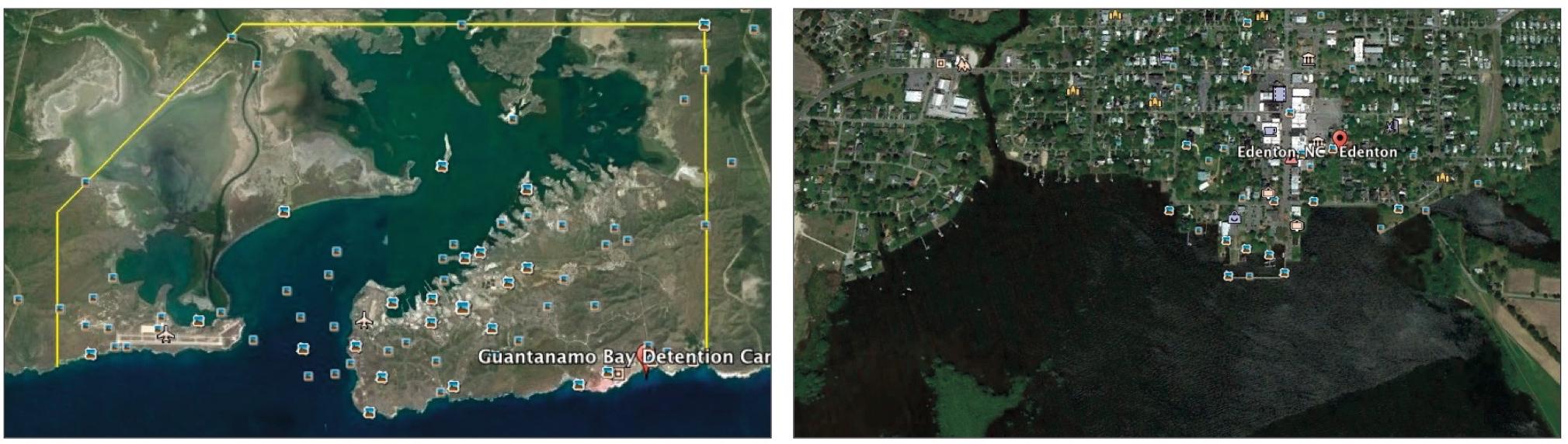 Guantanamo Bay, Cuba, left; Edenton, N.C.