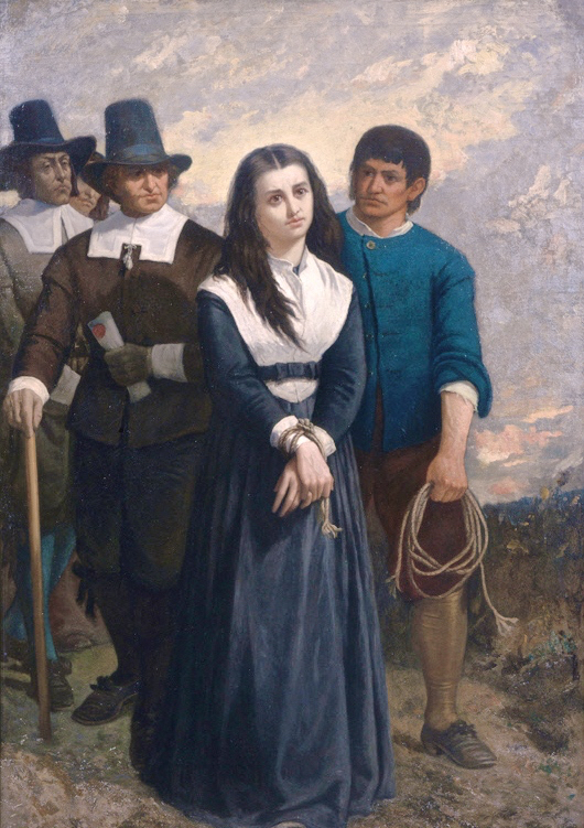 """""""Witch Hill: The Salem Martyr,"""" oil on canvas, by Thomas Satterwhite Noble, painted in 1869. Notes from the gallery label: """"The young woman who posed as the condemned witch was a librarian in the Cincinnati library, and was a lineal descendant of a woman who was actually hanged as a witch in 17th century Salem. Painted in Cincinnati."""""""