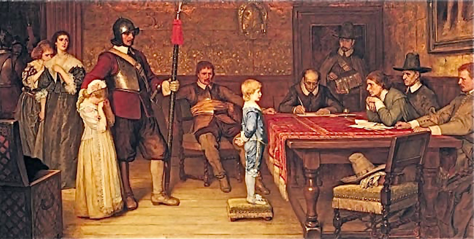 """""""And When Did You Last See Your Father?"""" by William Frederick Yeames, 1878, depicting English Puritan inquisitors grilling the child of a Royalist family"""